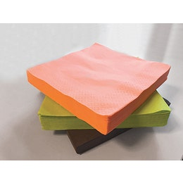 Serviette jaune, lisse avec 2 plis - 38x38cm