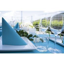 Serviette Airlaid turquoise, aspect lin