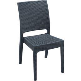 Chaise Florida anthracite - résine fibre verre - 45 x 52 x 87 cm