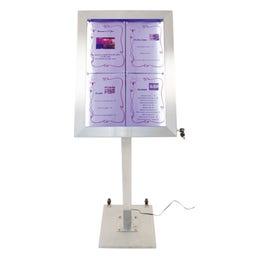 Pied et base pour porte-menus LED - acier