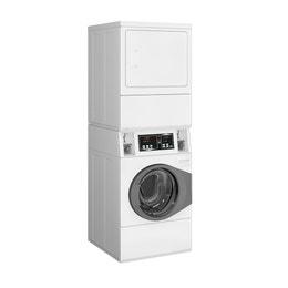 Colonne de lavage/séchage blanche (10kg) - monnayeur Gettonne 7K