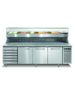 Meuble pizza 3 portes - 6 tiroirs refroidissement ventilé - 325L