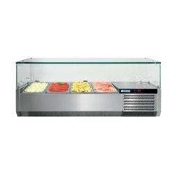 Console réfrigérée GN1/3 - avec vitrage droit - 1450 x 395 x 429 mm