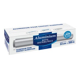Boite distributrice d'aluminium ép 11 μ - 33 cm x longueur 200 m