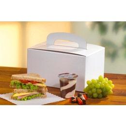 Boîte repas carton avec poignée - Blanc - 12,5 x 15,5 x 22,5