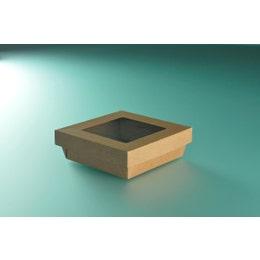 Boîte à salade avec couvercle fenêtre - kraft brun - 14 x 14 x 5cm