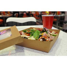 Boîte à salade avec couvercle à fenêtre - kraft brun - 16 x 16 x 5 cm