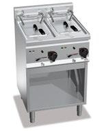 Friteuse 10+10L sur meuble - inox AISI 304 - 600 x 600 x 900 mm