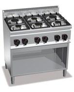 6 brûleurs en alliage aluminium et laiton - 600 x 900 x 900 mm