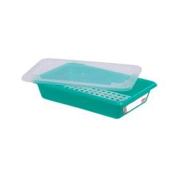 Bac plat avec couvercle et grille - 3 l - vert