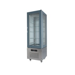 Vitrine 4 faces vitrées - bi-température -20° à +5°C - Grise