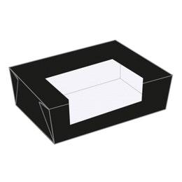 Boite américaine noire - avec fenêtre - 15,3 x 12,1 x 6,4 cm