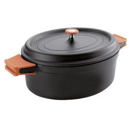 Faitout ovale en fonte - noir - 6,3 L