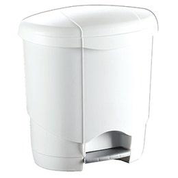 Poubelle en plastique blanc à pédale de 6 L - 231x267x205 mm