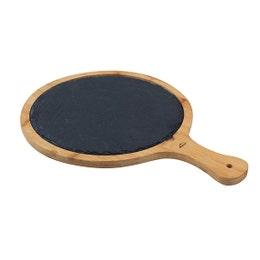 Planche ardoise et bambou ronde 38,5x28x1,5 cm