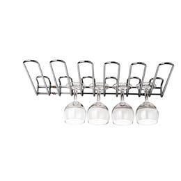 Rack à verres chromé - 4 verres - 31x13x5,6 cm