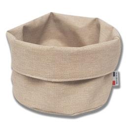 Panière ronde - Effet tissu - Diamètre 25 cm - Beige