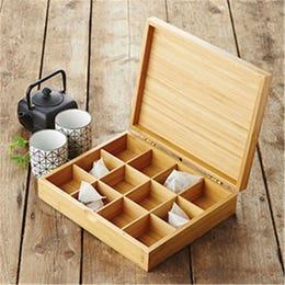Boîte à thé - en bambou - 12 compartiments