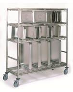 Chariot porte-bacs gastronorme - modèle 38 cases - 1270