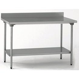 Table inox CHR adossée avec étagère inférieure 1200 x 700 x 900 mm
