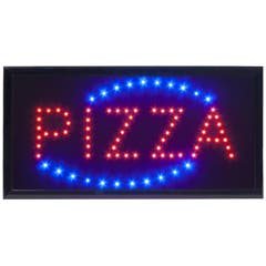 Enseigne led clignotante - pizza - led rouge et bleu