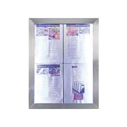 Porte menus LED Classic - Inox - 4 pages A4