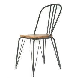 Chaise Bois & Métal gris - 44,5 x 55 x 102 cm