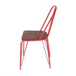 Chaise Bois & Métal rouge - 44,5 x 55 x 102 cm