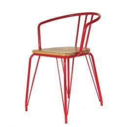 Fauteuil Bois & Métal rouge - 53 x 50 x 88 cm