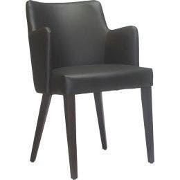 Fauteuil Sophia - simili cuir noir - 50 x 50 x 82 cm