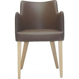 Fauteuil Sophia - simili cuir chocolat - 50 x 50 x 82 cm