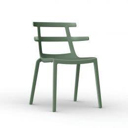 Chaise Tokyo Gris-Vert - en polyprop. et fibre de verre