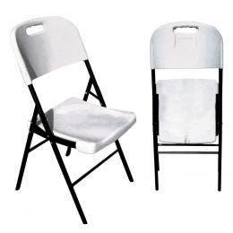 Chaise pliante blanche - structure noire - 43 x 44 x 90 cm