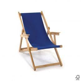 Chaise chilienne avec accoudoirs - bleu - 61 x 132 cm