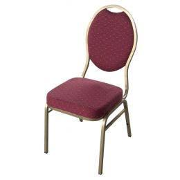 Chaise Matignon - empilable - or revêtement bordeaux