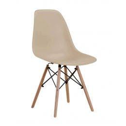 Chaise Oslo Café - coque en polyp. - pieds en bois de hêtre