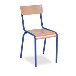 Chaise Gala bleue - assise et dossier en hêtre multiplis - 8 mm