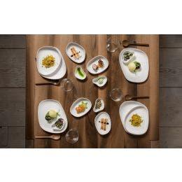 Assiette plate - gamme Yayoi - blanc mat - 140x110x30 mm