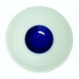 Coupelle en porcelaine blanche - 100 mm - intérieur indigo