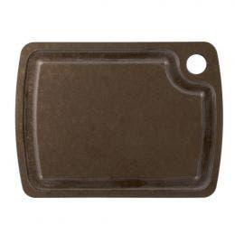 Planche à découper à rigole marron - 380x280 mm
