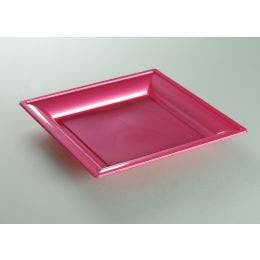 Assiette thermoformée fuchsia de 240 x 240 mm