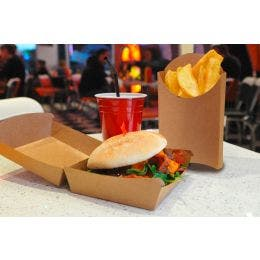 Boîte à burger - kraft brun - 10 x 10 x 7 cm