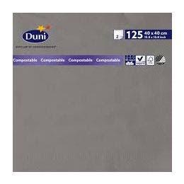 Serviette grise avec 2 plis  40x40cm