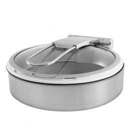 Chafing dish en acier finition brossée avec bac en porcelaine