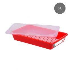 Bac plat avec couvercle et grille - 5 l - rouge