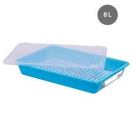 Bac plat avec couvercle et grille - 8 l - bleu