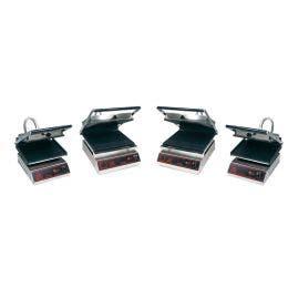 Grill panini - plaques rainurées - 3 paninis - 380 x 550 x 650 mm