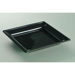 Assiette thermoformée noire de 240 x 240 mm