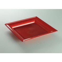 Assiette thermoformée carrée cerise de 180 x 180 mm