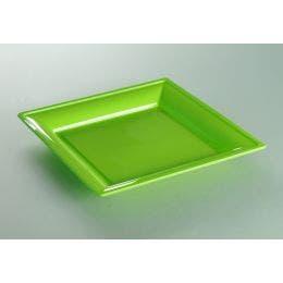 Assiette thermoformée carrée anis de 180 x 180 mm